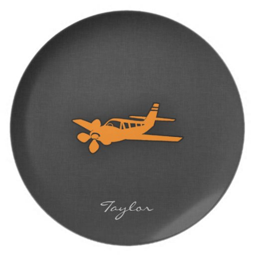 Orange Small Airplane Dinner Plate
