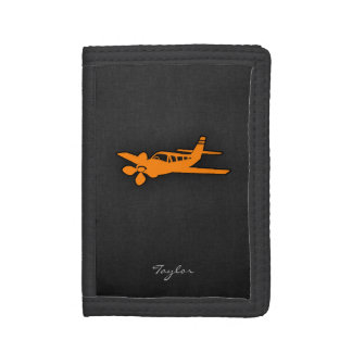 Orange Small Airplane Trifold Wallet