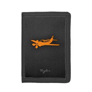 Orange Small Airplane Trifold Wallet