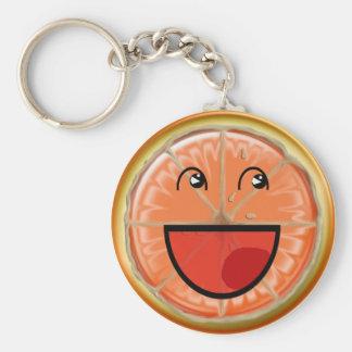 orange smile basic round button keychain