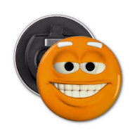 Orange Smiley Button Bottle Opener
