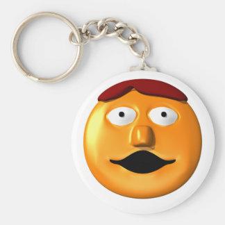 Orange smiley face man keychain