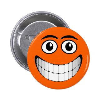 Orange Smiley Face Pinback Button