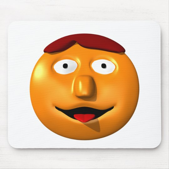 Orange smiley man with his tounge out mouse pad