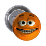Orange Smiley Pinback Button