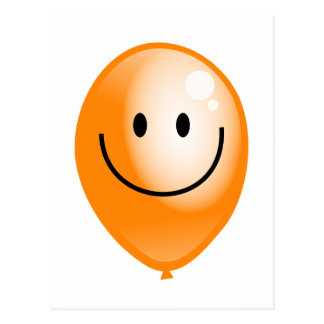 Orange Smilie Balloon Postcard