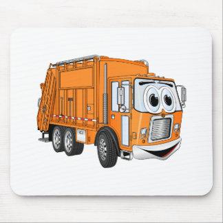 Orange Smiling Garbage Truck Cartoon Mouse Pad