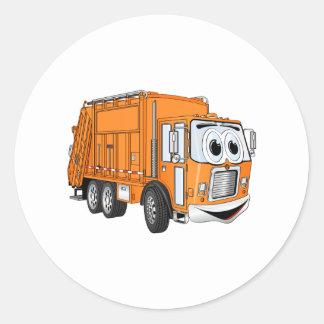 Orange Smiling Garbage Truck Cartoon Classic Round Sticker