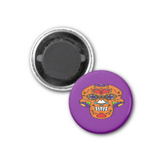 Orange Smiling Sugar Skull Magnet