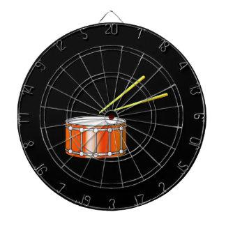 orange snare graphic with sticks dartboard