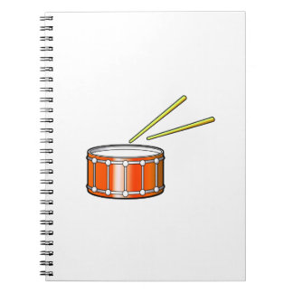 orange snare graphic with sticks spiral notebook