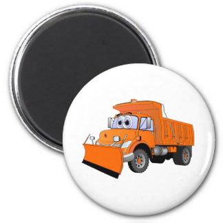 Orange Snow Plow Cartoon 2 Inch Round Magnet