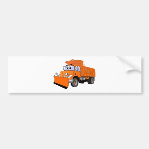 Orange Snow Plow Cartoon Bumper Sticker