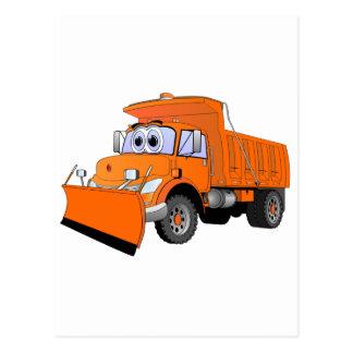 Orange Snow Plow Cartoon Postcard