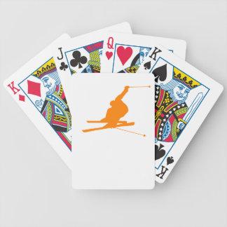 Orange Snow Ski Bicycle Playing Cards