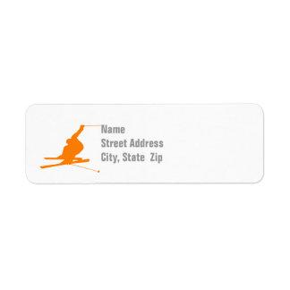 Orange Snow Ski Label