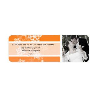 Orange Snowflakes Christmas Wedding Label