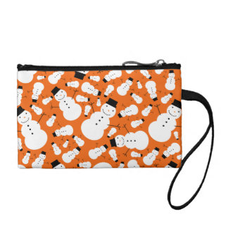 Orange snowmen coin purse
