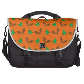 Orange snowshoe pattern laptop computer bag