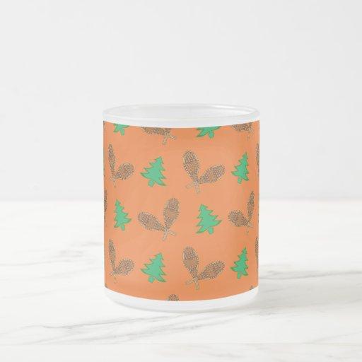 Orange snowshoe pattern mug