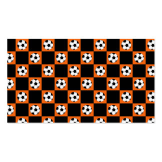 Orange soccer ball checkers business card template