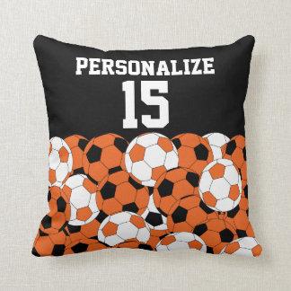 Orange Soccer Ball Collage | DIY Name & Number Throw Pillow