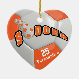Orange Soccer Ball | Personalize Double-Sided Heart Ceramic Christmas Ornament