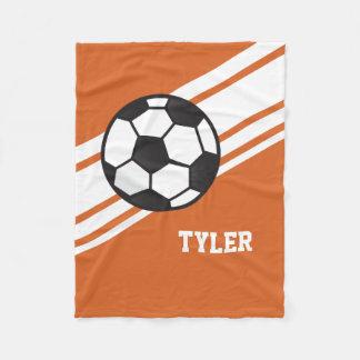 Orange Soccer Ball Sports Personalized Name Fleece Blanket