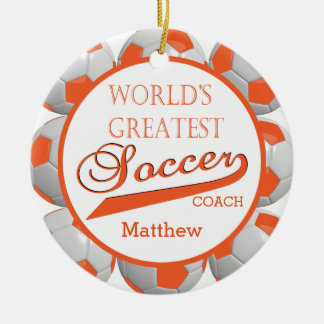 Orange Soccer Ball | Template Ceramic Ornament