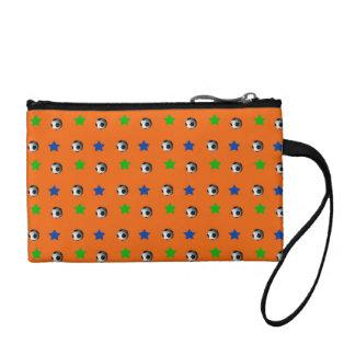 Orange soccer balls and stars change purse