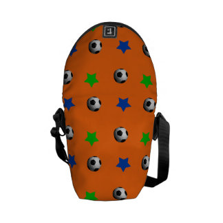 Orange soccer balls and stars courier bags