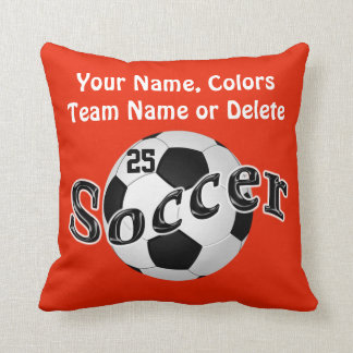 Orange Soccer Pillows, Change COLORS and TEXT Throw Pillow