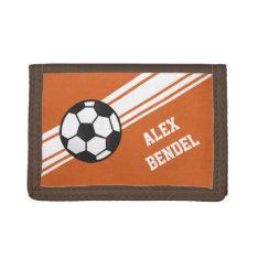 Orange Soccer Sporty Sport Stripes Boys Wallet at Zazzle