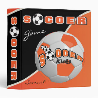 Orange Soccerball Game | Personalize 3 Ring Binders