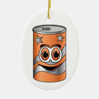 Orange Soda Can Cartoon Ceramic Ornament