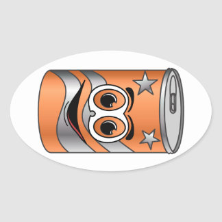 Orange Soda Can Cartoon Oval Stickers