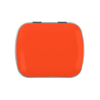 Orange solid background,  Add your own text Jelly Belly Candy Tin
