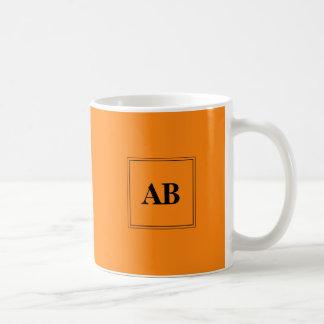 Orange solid color with monogram coffee mug