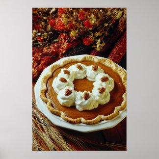 Orange Sour cream pumpkin pie flowers Poster