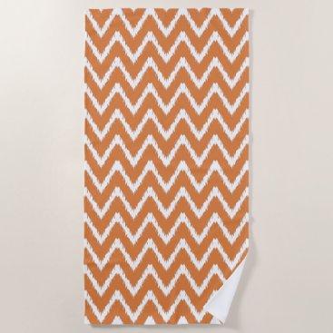Beach Themed Orange Southern Cottage Chevrons Beach Towel