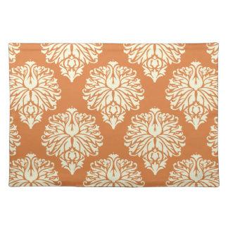 Orange Southern Cottage Damask Cloth Placemat