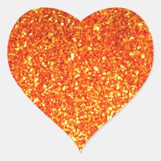 Orange sparkly glitter heart sticker