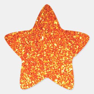 Orange sparkly glitter star sticker