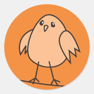 orange sparrow classic round sticker