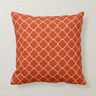 Orange Spice White Quatrefoil Throw Pillow