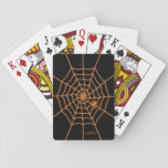 """Orange spider and web black initials playing cards<br><div class=""""desc"""">A patient spider sits on his &#39;glowing&#39; web in this bold bright design. Digital art in orange on a black background. Add your initials,  and your cards are marked!</div>"""