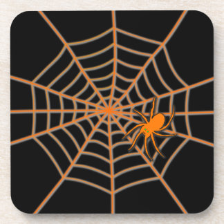 Orange spider and web on black beverage coasters