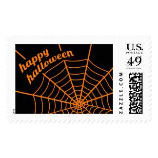Orange Spider Web Halloween Art Postage Stamps