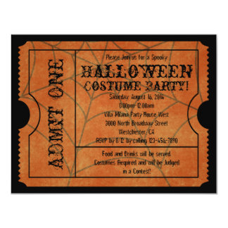 Orange Spider Web Vintage Halloween Ticket 4.25x5.5 Paper Invitation Card