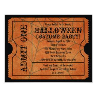 Orange Spider Web Vintage Halloween Ticket Card